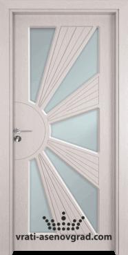 Стъклена интериорна врата Гама 204, цвят Перла