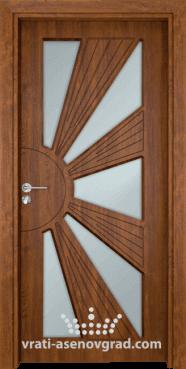 Стъклена интериорна врата Гама 204, цвят Златен дъб