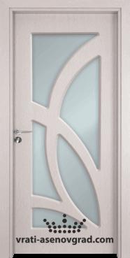 Стъклена интериорна врата Гама 208, цвят Перла